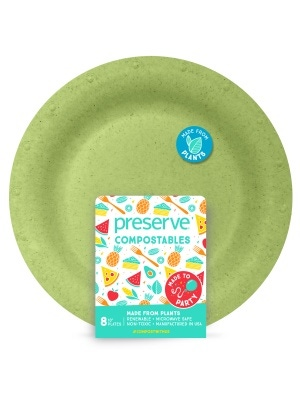 Preserve Compostables Large Plates 8ct Green