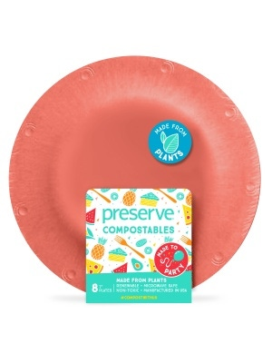 Preserve Compostables Small Plates 8ct Red